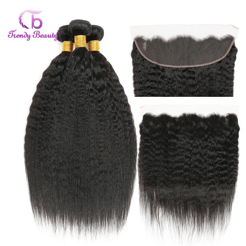 Trendy Beauty Peruvian Kinky Straight Bundles With Frontal 2 3Bundles With 13x4 Ear to Ear Frontal