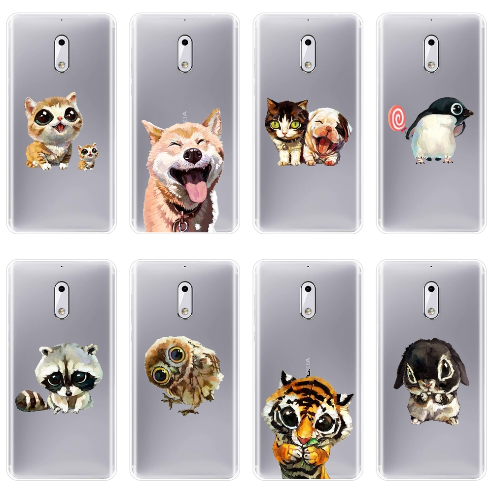 TPU Back Cover For <font><b>Nokia</b></font> 1 2 <font><b>3</b></font> 5 6 8 Soft Silicone Shiba Inu <font><b>Dog</b></font> Kawaii Cat Tiger Rabbit Owl <font><b>Case</b></font> For <font><b>Nokia</b></font> X6 7 Plus Phone <font><b>Case</b></font> image