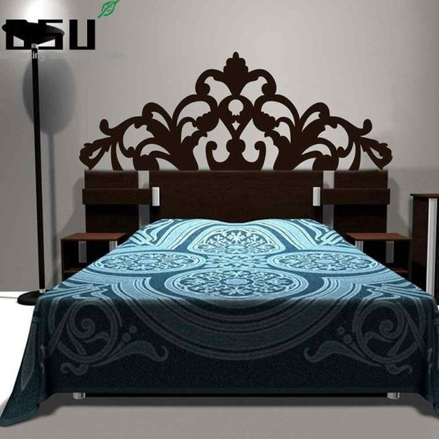 Brief Baroque Pattern style Headboard Decal Bed Vinyl Wall Sticker Beautiful Flower Bedroom Dorm Wall Decor Home Wallpaper