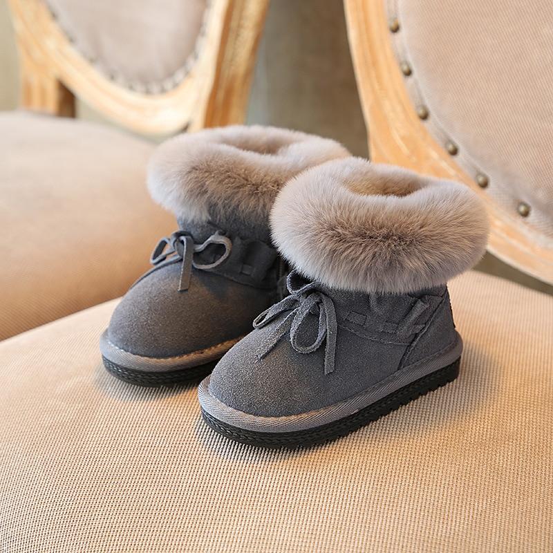 6c235228439 adoudou Size 23-38 Fashion Kids Girls Boots Genuine Leather Children Girls  Winter Boots Toddler Crystal ...