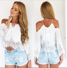 Women Cropped Top 2017 New Fashion Plus Size Chiffon Lace Crop Top Off The Shoulder Lace