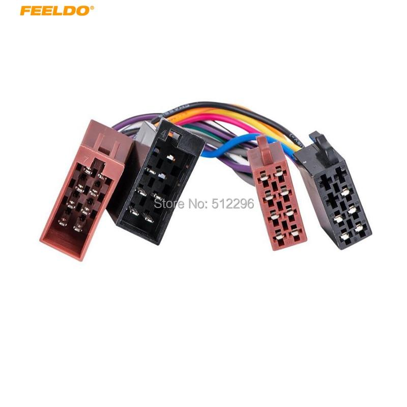 FEELDO 1Pair Car ISO Radio Plug Adapter Wiring Harness For Volkswagen Audio Power & Loudspeaker ISO 2 Heads Male to Female Insta