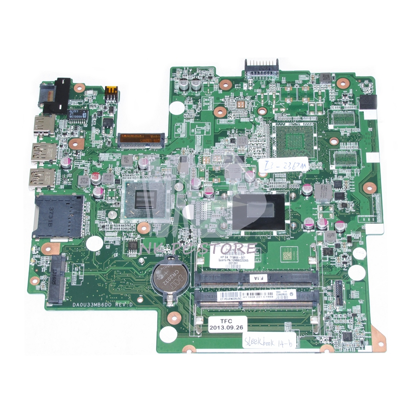 NOKOTION 714618-001 715866-001 MAIN BOARD For HP Sleekbook 14-B 14-B060 Laptop Motherboard DA0U33MB6D0 I3-2367M CPU DDR3 nokotion for hp sleekbook 14 b laptop motherboard 714618 501 715866 501 da0u33mb6d0 with i3 2367m cpu onboard