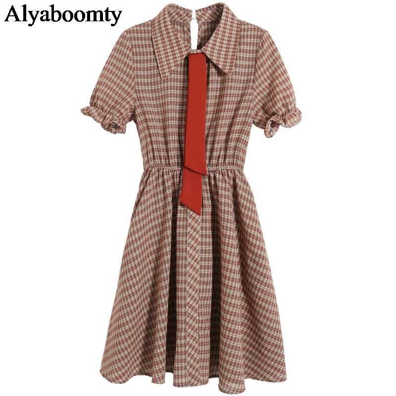 Японское летнее женское мини-платье Mori Girl с отложным воротником, клетчатая Женская туника с высокой талией, элегантные милые платья Kawaii с галстуком
