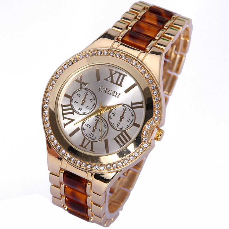 NEW High Quality Womens Fashion & Casual Quartz Wristwatches Numerals Golden Dial Leather Analog Metal Watch Relogio watch for womens is classic look ladies metal case golden dial leather analog quartz fashion geneva roman numerals watches