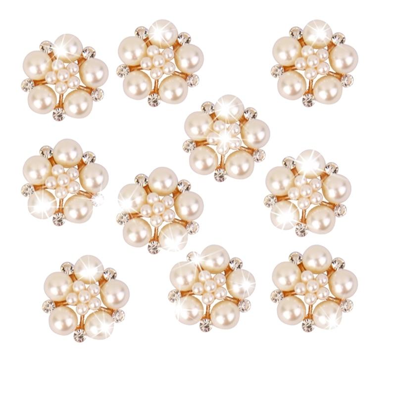 Yundfly 5PCS Flower Pearls Rhinestones Buttons Metal Wedding Invitations Decorate Button Trinket Hair Flower Center Accessories