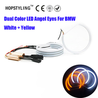 Dos Colores blanco y amarillo E36 E38 E49 E46 Proyector SMD LED Angel Eyes Para BMW Angel Eye Halo de Luz de Algodón Libre de Errores LED