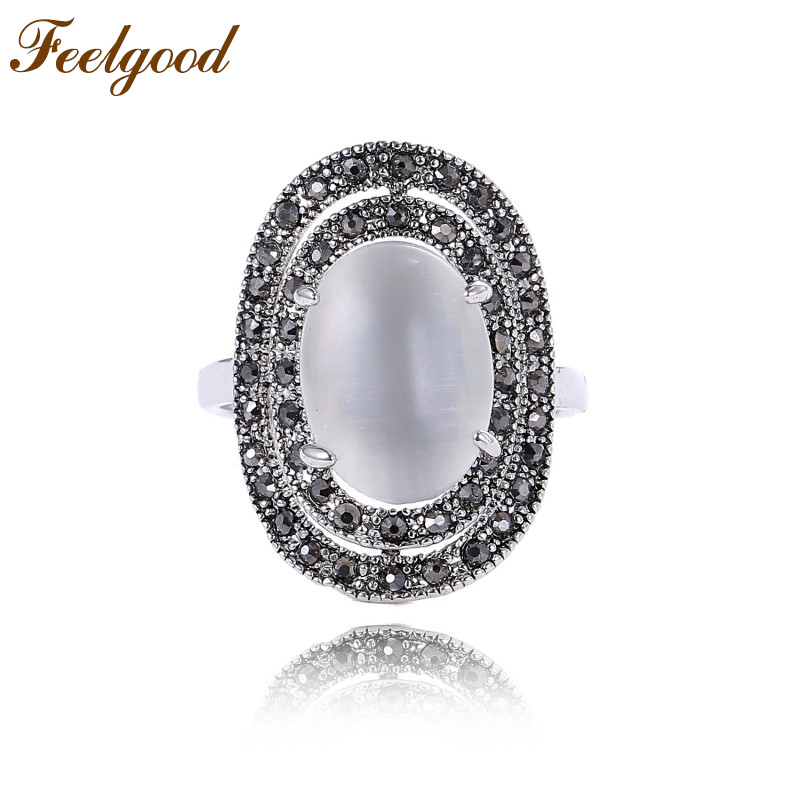 Feelgood Top Quality Fashion Opal Stone Rings Antique Silver Color Rhinestone Retro Vintage Rings For Women