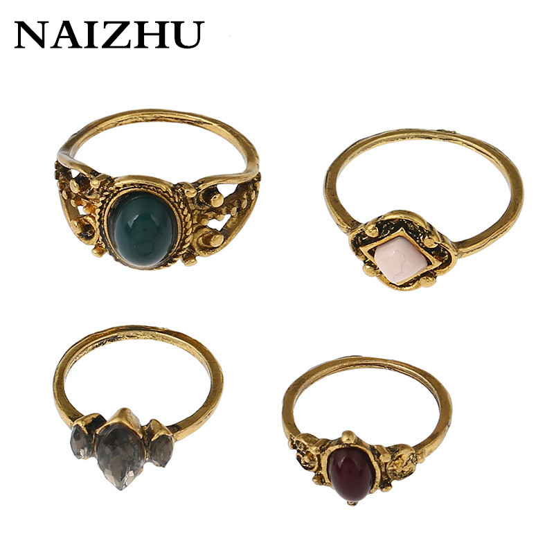 NAIZHU 4pcs/sets Vintage Gold Color Punk Midi Rings Set Antique Boho Style Crystal Stone Ring for women girls