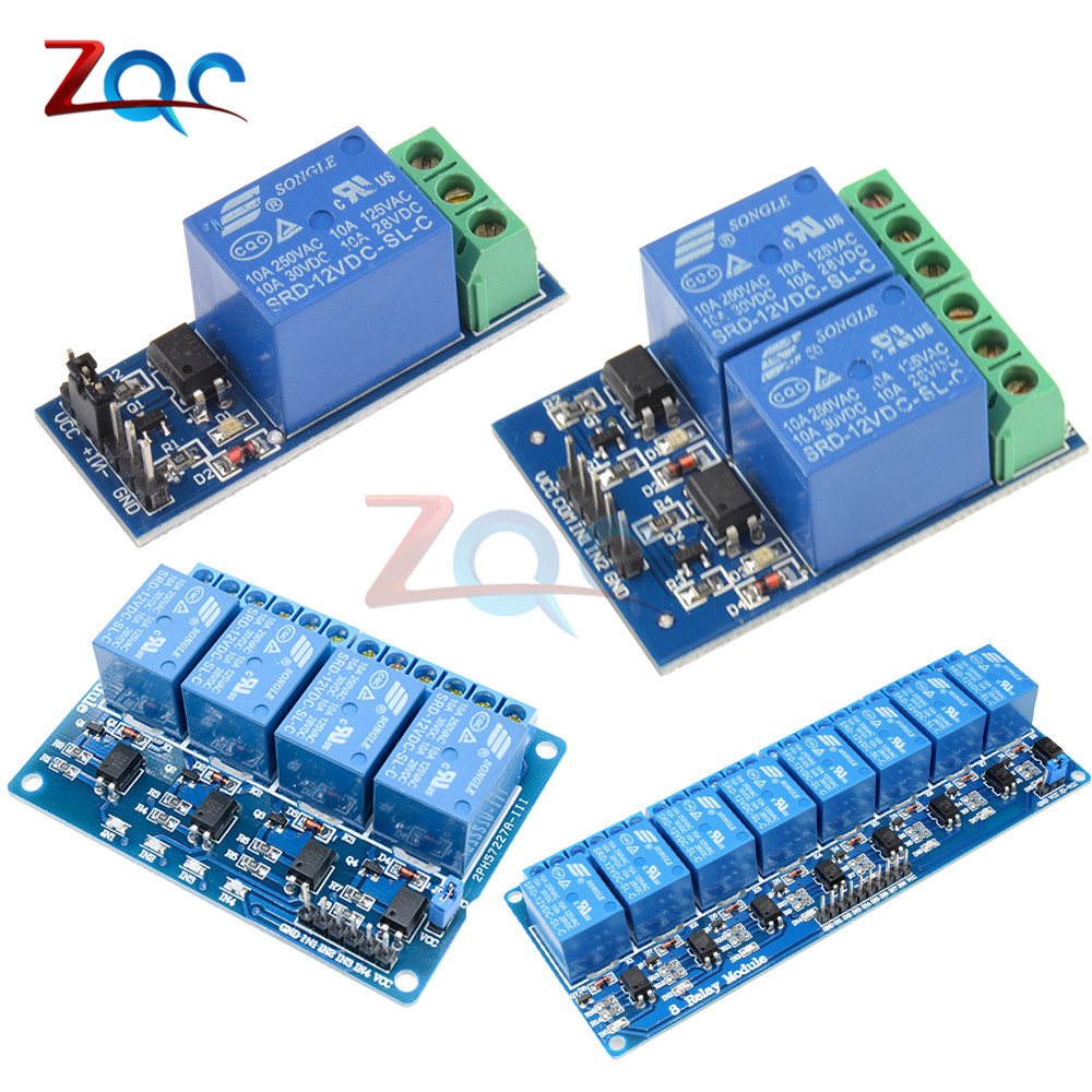 DC 12V 1 2 4 8 Channel Relay module with optocoupler Relay Output 1 2 4 8 Way Relay Module Board for Arduino
