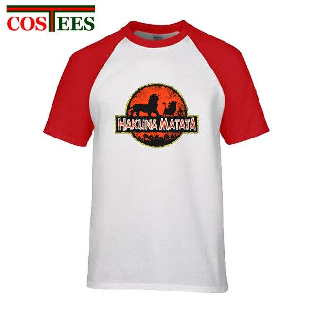 3176e80b Vintage Jurassic design park Tees Hakuna Matata T shirt men Lion King Simba  Pumbaa Timon T-shirt boys casual retro teeshirt kids