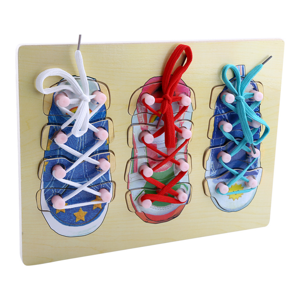 Children Toys Wooden Tie Shoe Toy Lacing Threading Board Matching