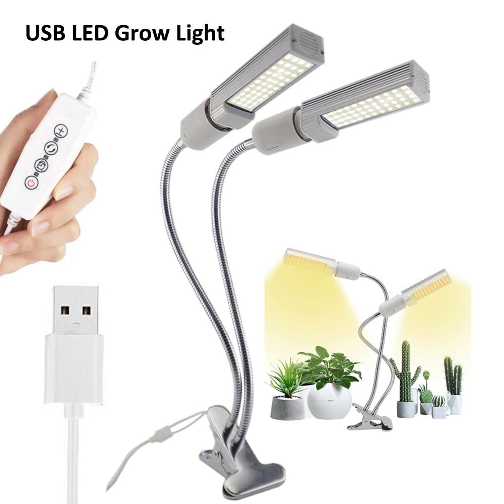 Full Spectrum Dual Head USB Timer LED Grow Lamps Indoor Plants Flower Phyto Light Hydro Lamp Growth Growbox Veg Bulb Clip Holder