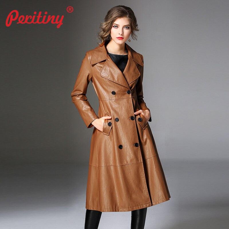 Peritiny ผู้หญิงเสื้อฤดูใบไม้ร่วงฤดูหนาวคุณภาพแบรนด์แฟชั่นคู่หนัง PU Faux Trench Coat สำหรับผู้หญิง Outerwear-ใน โค้ทยาว จาก เสื้อผ้าสตรี บน   1