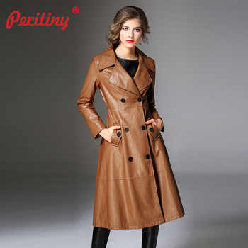 Peritiny Women Coats Autumn Winter Top Quality Fashion Brand Double Breasted PU Faux Leather Trench Coat for Women Outerwear - DISCOUNT ITEM  40% OFF Women\'s Clothing