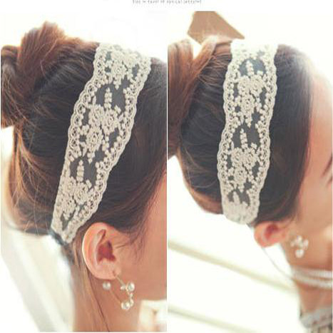 1pcs women lady's vintage Retro Elastic lace flower Headband Headdress Hair Band Accessories   headwear