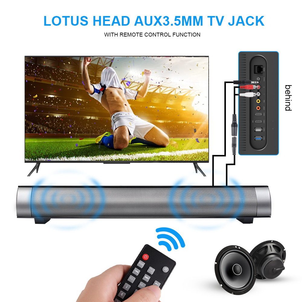 Enhanced TV Remote Control Soundbar Bluetooth Speaker LP-08 Sound Bar Wireless Subwoofer Bluetooth Speaker Card Plugging Speaker