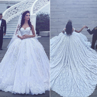 Glamorous Lace Long Dress For Wedding Sweetheart Appliques Formal Party Dresses Custom Made Strapless Bridal Ball Gowns