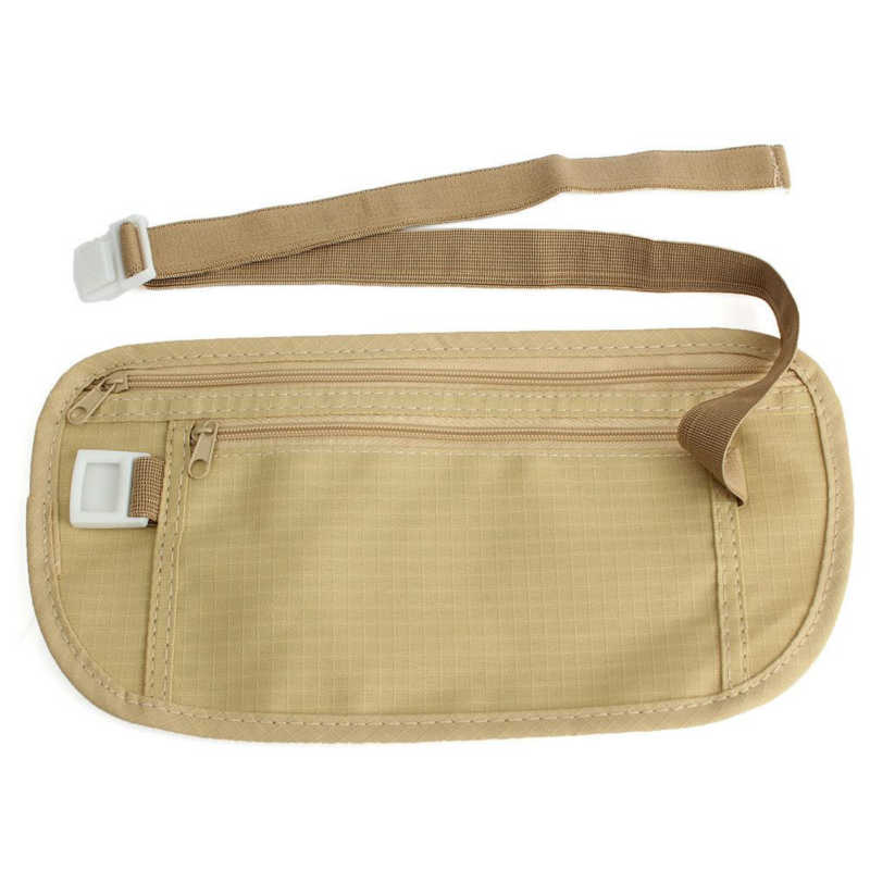 1PC  Cloth Travel Pouch Hidden Wallet Passport Money Waist Belt Bag Slim Secret Security Useful Travel Bag
