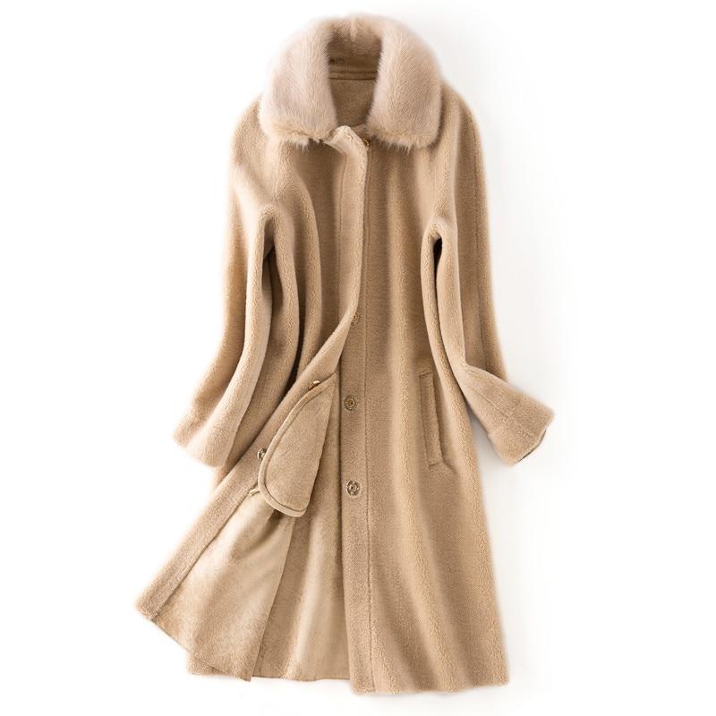 camel D'agneau En Dames Qualité Au Outwear Ksr389 Détail Naturel Gros 2018 Fourrure Bonne Manteau Véritable Col Usine Beige Vison De 6fY7gby