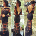Black Backless Mermaid Lace kim kardashian dresses vestidos Sheer Evening Dresses with Long Sleeve Celebrity Dress