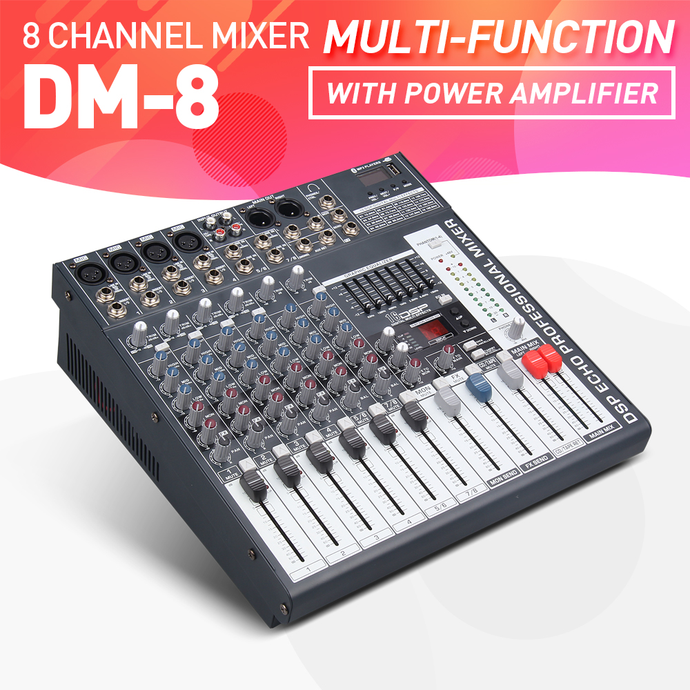 500 Watt Us 219 Good Quality Clean Sound 8 Channels 500 Watt Power Amplifie Mixer Digital Audio Mixing Console With 48v Phantom Power Usb Slot In Dj