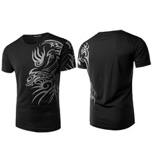 Men T-shirt short-sleeved dragon pattern breathable new fashion hip-hop O-neck print shirt mens clothes