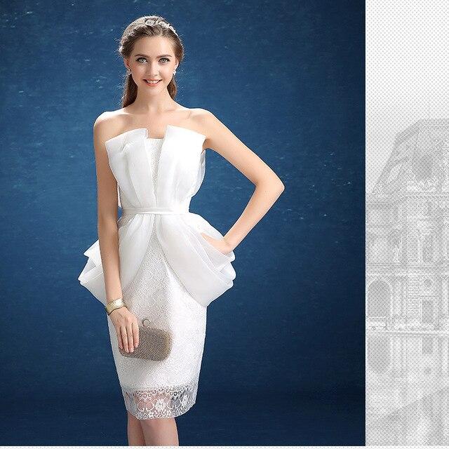 4328e769371 Evening dress 2016 new fashion banquet short summer host white graduation  gown engagement
