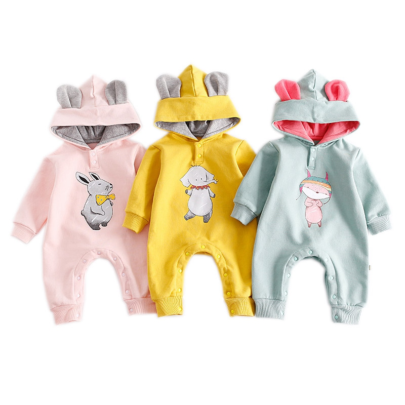 2018 Spring Autumn Baby Hooded Rompers Animal Printed Kids Jumpsuits Infant Roupas Para Bebes Newborn Girl Boy Cotton Clothes lemonmiyu cotton baby rompers long sleeve newborn pajamas animal print infant boy girl one piece spring autumn baby clothes