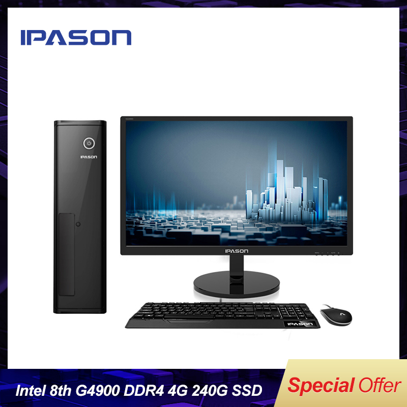Intel Desktop PC IPASON Cheapest Core G4900 Fanless Mini PC Windows10 Barebone Computer DDR4 4G 240G SSD HTPS WiFi HDMI VGA