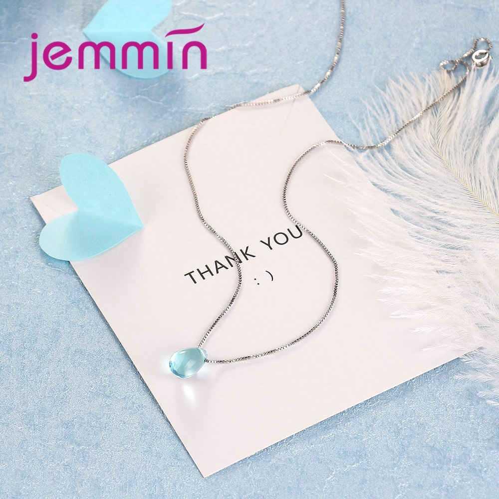 Neueste Box Kette Halskette Mit Klar Waterdrop Cubic Zirkon Anhänger 925 Sterling Silber Mode Hochzeit Schmuck Großhandel