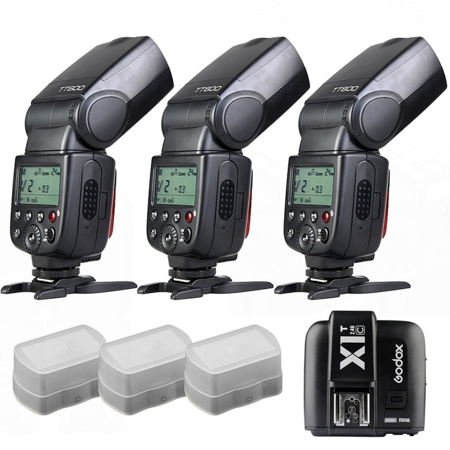 3 x Godox TT600 build-in 2.4G Receiver GN60 HSS Flash + X1T Transmitter for Canon