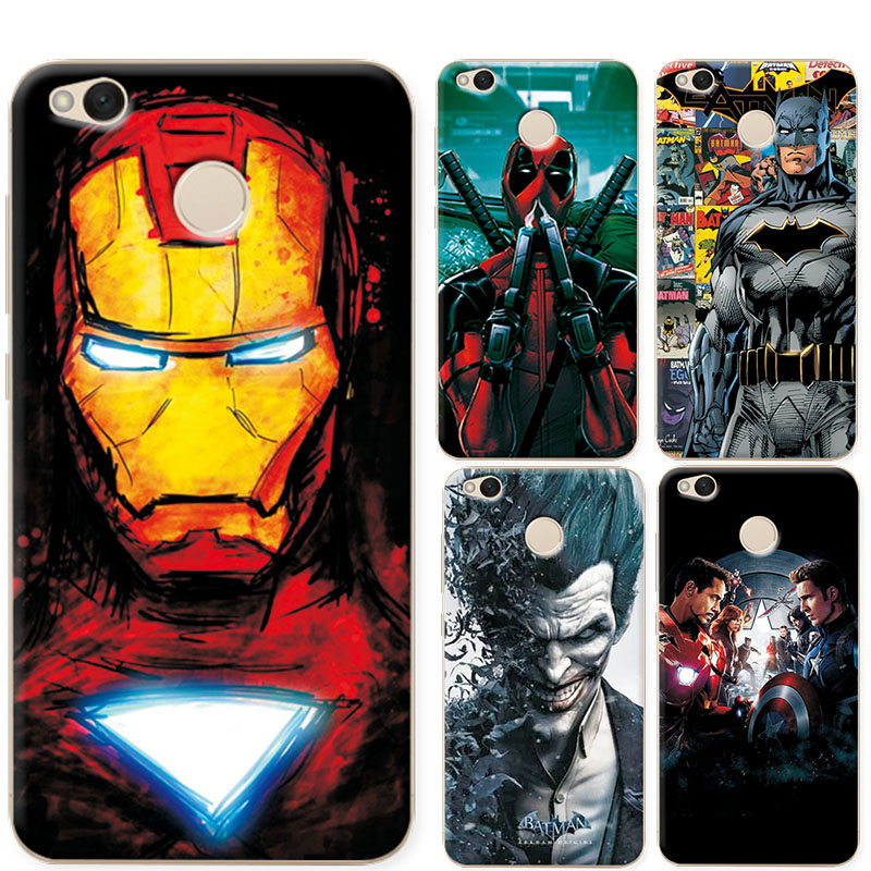 hot sale online e51f2 b877c For Xiaomi Redmi 4X Phone Case Charming Marvel Avengers Iron man For Redmi  4X Pro Soft Silicone Coque For Xiaomi Redmi 4 X 5.0