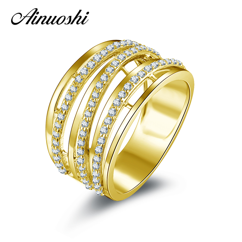 AINUOSHI 14K Solid Yellow Gold Multi Layer Band Ring Hollow Lines Simulaed Diamond CZ Wedding Engagement