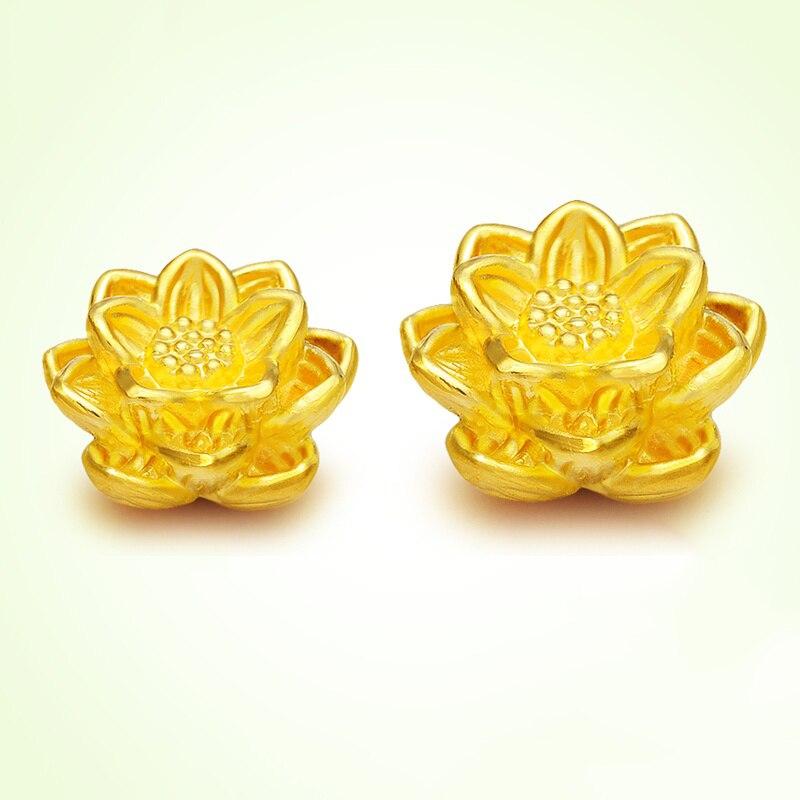 1 pièces 999 offre spéciale pur 24 K or jaune parfait Lotus femme & bébé chanceux bricolage pendentif 15*9mm