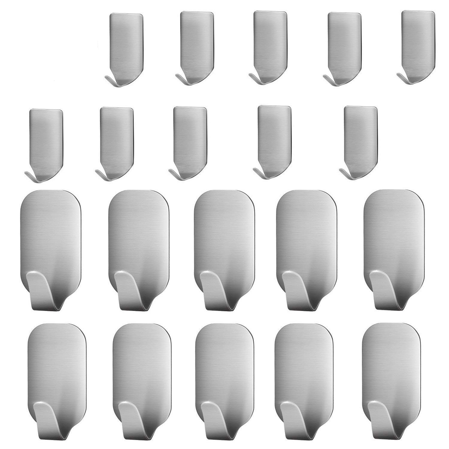 20 pcs adhesive hooks heavy duty wall hooks stainless steel ultra strong waterproof wall. Black Bedroom Furniture Sets. Home Design Ideas