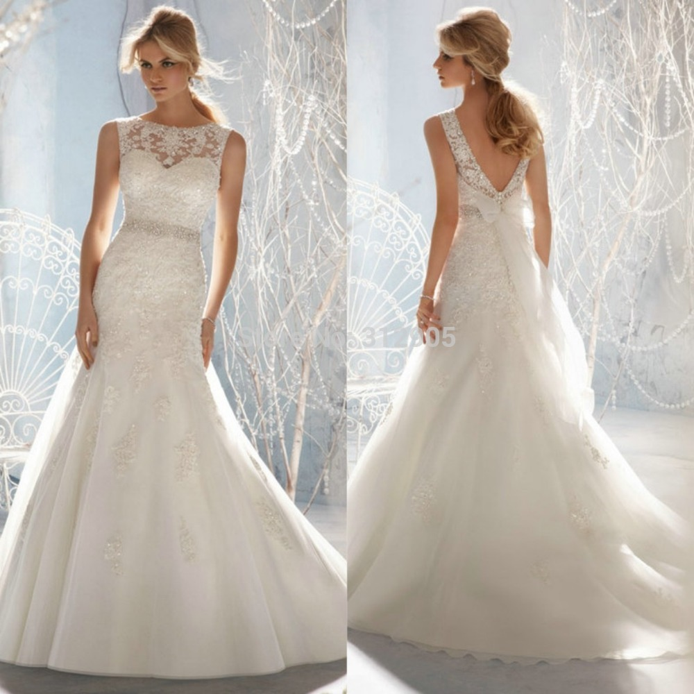 Latest Wedding Gowns 2014: New Style European Design 2014 Ivory Color Backless