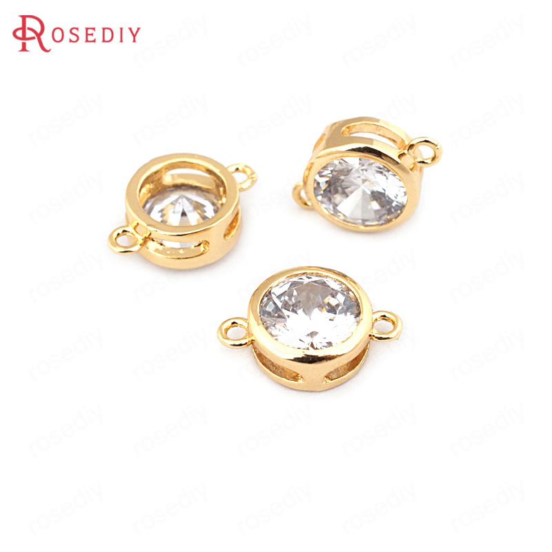 6PCS 4MM 5MM 6MM 24K Gold Color Brass Zircon 2 Holes Round Connect Charms Pendants High Quality Jewelry Findings Accessories