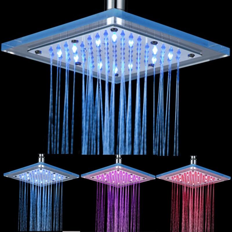 Pommeau de douche articles sanitaires pommeau de douche contrôle de température LED trois couleurs couleur claire gicleur d'économie d'eau 6.8