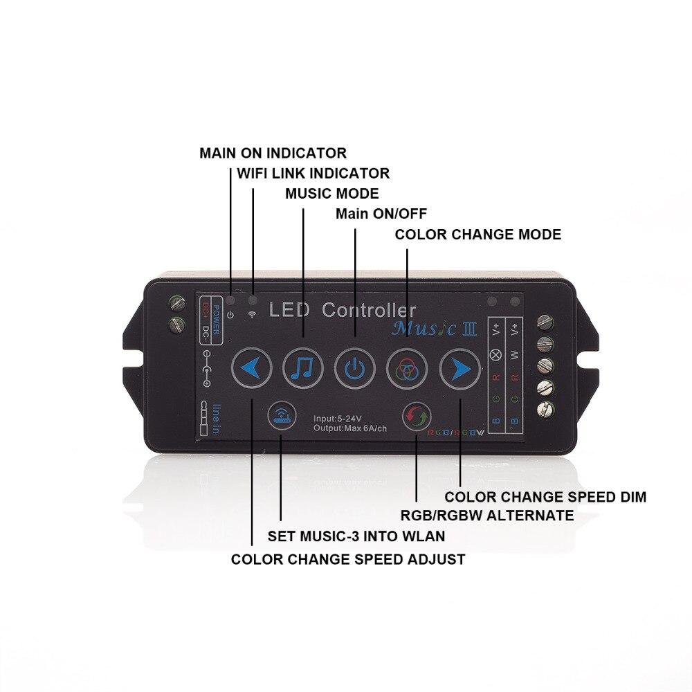RGBW Music LED Controller DC12V-24V 4A*4CH Sound Sensor Voice Audio Control For 3528 5050 RGBW LED Strip Light 2