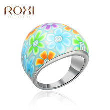 ROXI TOP Quality Wholesale Purple Color Flower Jewelry Charm Fimo Polymer Clay Mixed Ring FOR Children /baby girl
