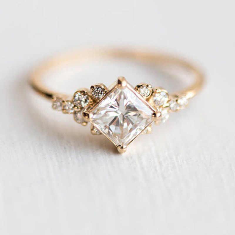 Модное квадратное сверло, граненый Фианит, кольцо 14 к, золото, бриллиант, Рождество, граненый фианит, кольцо для женщин Anillo, ювелирные изделия