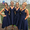 Elegant Navy Blue Bridesmaid Dresses Pocket Side Back Zipper Tea-Length Women Dress Wedding Party Gowns