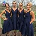 Elegante Azul Marinho Da Dama de honra Vestidos de Bolso Lateral de Volta Zipper Tea-Length Mulheres Vestido Vestidos de Festa de Casamento