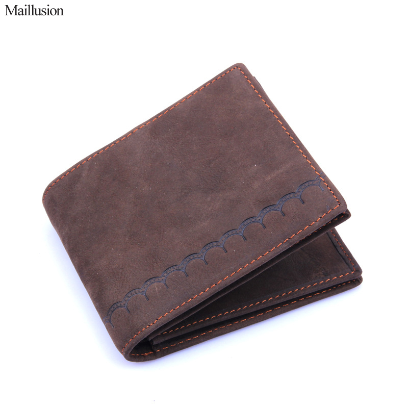 Maillusion Men Wallet Card Holder Genuine Crazy Horse Cowhide Leather Short Designer Slim Male Clutch Wallet Vintage Coin Purse crazy horse leather men wallet slim vintage genuine leather long purse cowhide bifold wallets with coin pocket and card holders