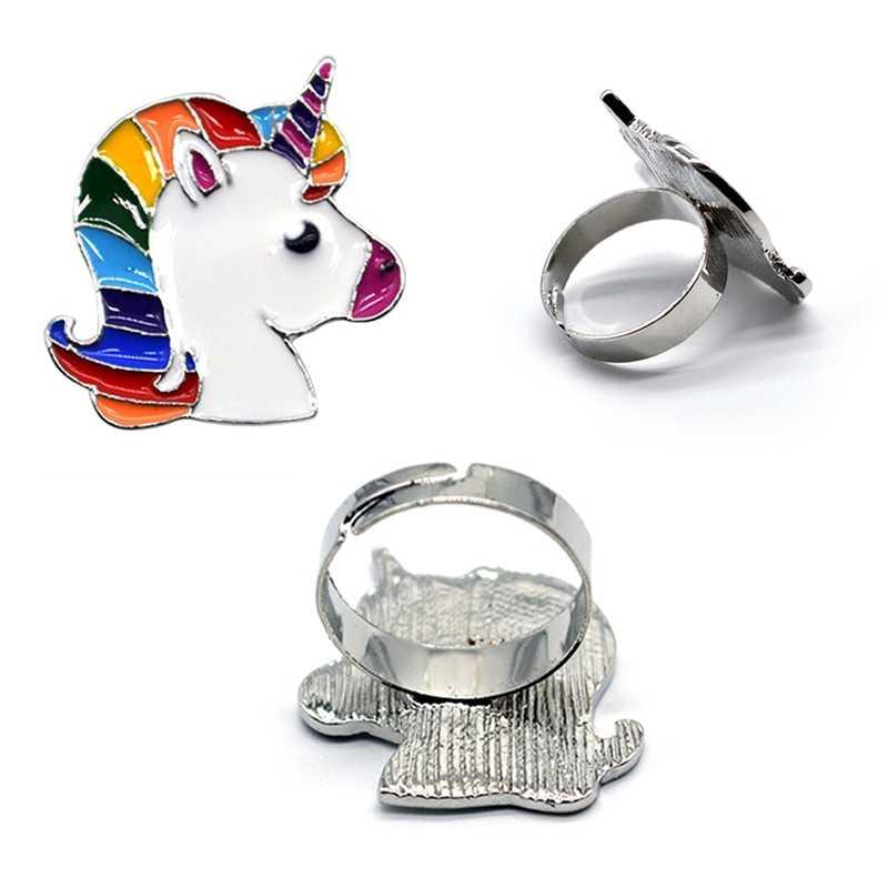 1 ชิ้นเคลือบสัตว์น่ารักยูนิคอร์นม้าปรับแหวนผู้หญิงเครื่องประดับการ์ตูนม้า Retro แกะสลัก Joint Finger แหวนเปิด