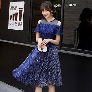 Image 3 - כחול כהה Junior קצר שמלות נשף 2019 אלגנטי צנוע O צוואר כבוי כתף נצנצים שיבה הביתה שמלות Brithday מפלגה שמלה