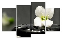 4 Panel Canvas Oil Painting Health Zen Stone Flowers Wall Art Paint Room Decor Landscape Painting