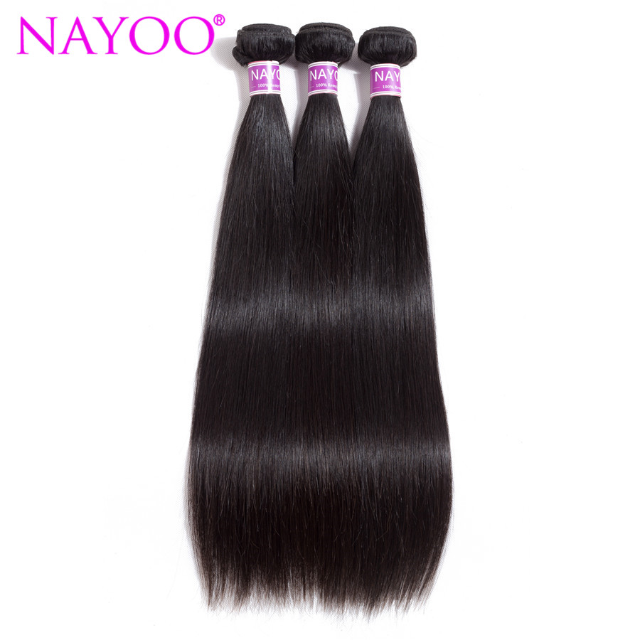NAYOO Hair Products Brazilian Straight Hair Extension 8-26 Hair Weave 3 Bundles Natural Color No Shed Tangle Remy Human Hair