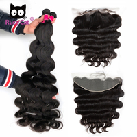 Brazilian Virgin Hiar Bundles With 13x4 Transparent Lace Frontal Closure Body Wave Hair Pre Plucked Hairline With Baby Hair